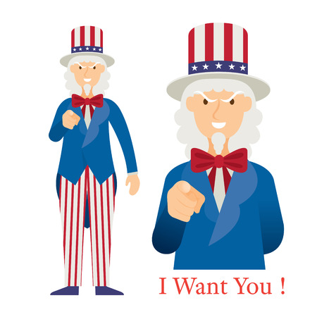 Uncle Sam Want You with Hand Pointing, Cartoon Character