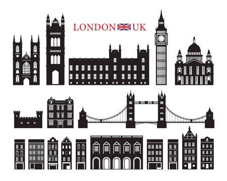 Angleterre et Royaume-Uni Building Landmarks Silhouette, Lieu célèbre, Voyage et Attraction touristique