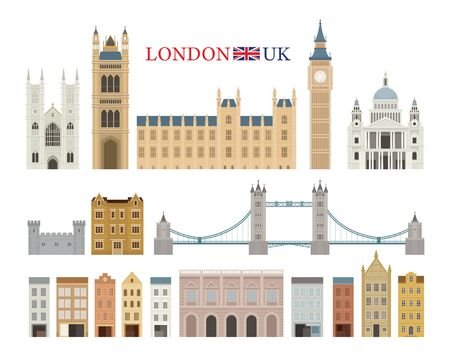 England and United Kingdom Building Landmarks, Famous Place, Travel and Tourist Attraction Illustration