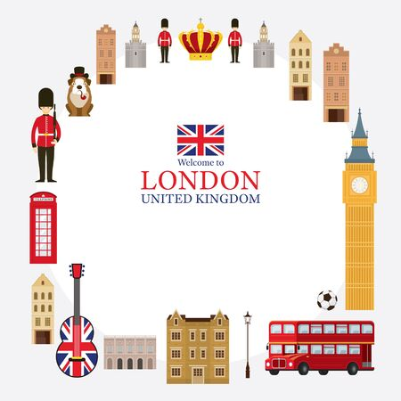 London, England and United Kingdom Tourist Attractions Frame, Famous Place, Travel Destinations and Objects Illustration