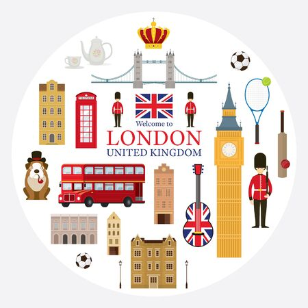 London, England and United Kingdom Tourist Attractions Label, Famous Place, Travel Destinations and Objects Illustration