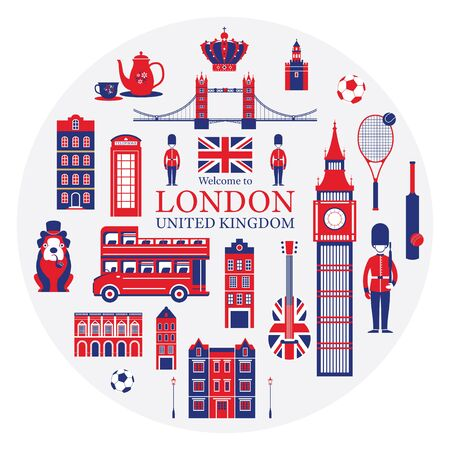 England and United Kingdom Tourist Attractions Label, Famous Place, Travel Destinations and Objects