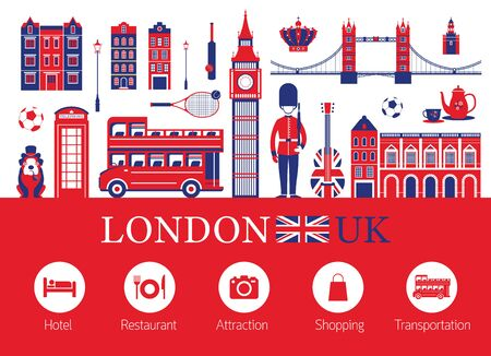 England and Travel Accommodation Icons, Famous Place, Tourist Attractions and Objects
