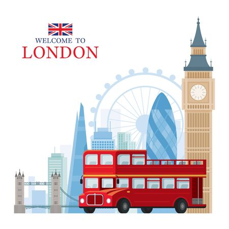 England and United Kingdom Travel and Tourist Attraction, Double Decker Bus, Big Ben, Illustration