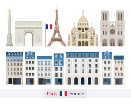 Paris, France Building Landmarks , Famous Place, Travel and Tourist Attraction Illustration