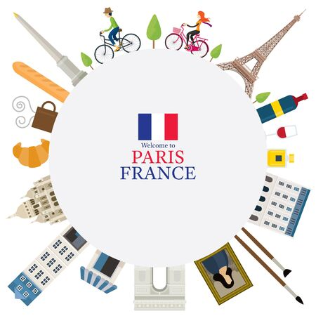 Paris, France Landmarks and Travel Round Frame, People Cycling, Objects, Famous Place and Tourist Attraction Illustration