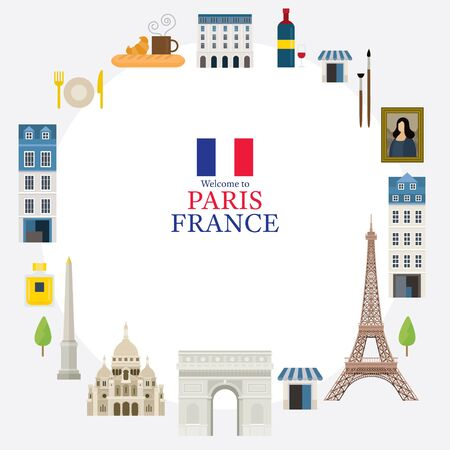 Paris, France Landmarks and Travel Frame, Objects, Famous Place and Tourist Attraction Ilustracja