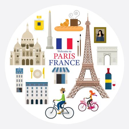 Paris, France Landmarks and Travel Label, People Cycling, Objects, Famous Place and Tourist Attraction