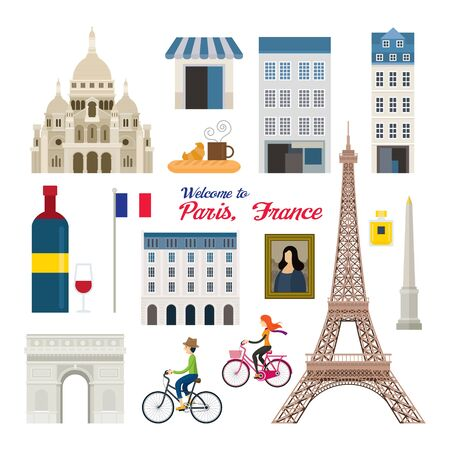 Paris, France Landmarks and Travel Objects, People Cycling, Famous Place and Tourist Attraction