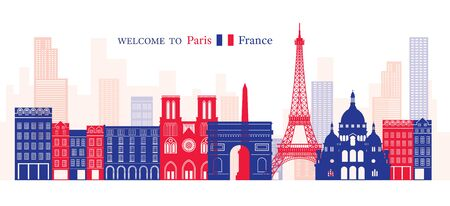 Paris, France Landmarks Skyline, Blue and Red Colour, Famous Place, Travel and Tourist Attraction Illustration