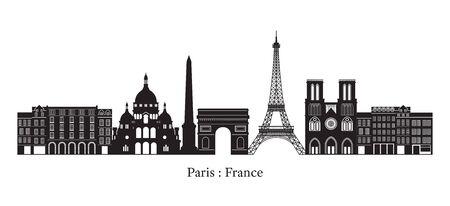 Paris, France Landmarks Skyline, Silhouette, Famous Place, Travel and Tourist Attraction Ilustracja