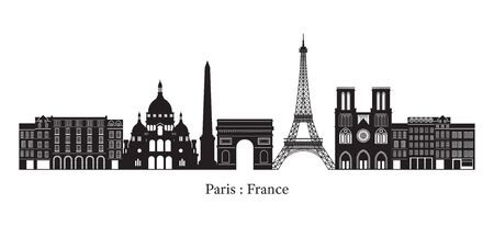 Paris, France Landmarks Skyline, Silhouette, Famous Place, Travel and Tourist Attraction Illustration