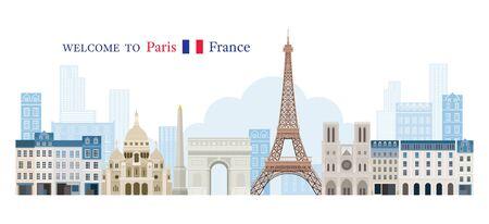 Paris, France Landmarks Skyline, Famous Place, Travel and Tourist Attraction