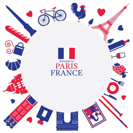 Paris, France Landmarks and Travel Objects Frame, Blue and Red Flag Colour, Famous Place and Tourist Attraction
