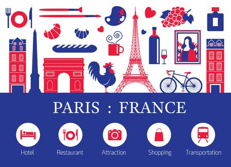 Paris, France Landmarks and Travel Objects with Accommodation Icons, Blue and Red Flag Colour, Famous Place and Tourist Attraction