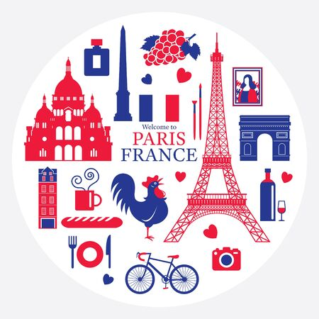 Paris, France Landmarks and Travel Objects Label, Blue and Red Flag Colour, Famous Place and Tourist Attraction