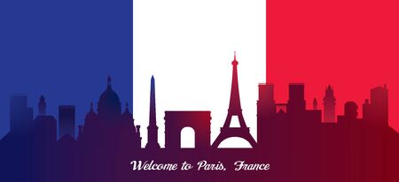 France Flag with Landmarks Skyline Background, Famous Place and Tourist Attraction