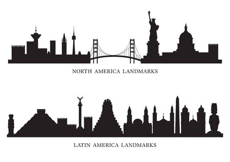 North, South and Latin America Skyline Landmarks Silhouette, Famous Place and Historical Buildings, Travel and Tourist Attraction Illustration