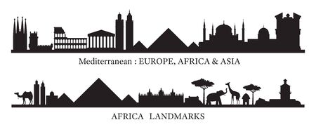 Mediterranean and Africa Skyline Landmarks Silhouette, Famous Place and Historical Buildings, Travel and Tourist Attraction Archivio Fotografico - 130989778