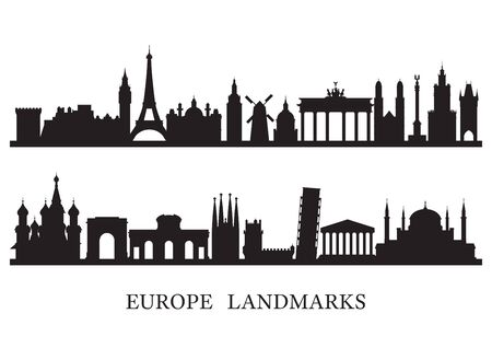 Europe Skyline Landmarks Silhouette, Famous Place and Historical Buildings, Travel and Tourist Attraction Archivio Fotografico - 130989785
