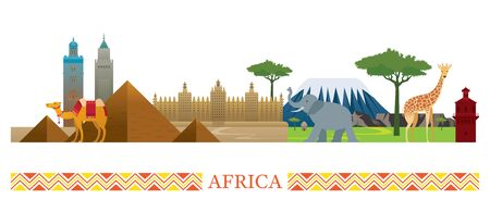 Africa Skyline Landmarks in Flat Style, Famous Place and Historical Buildings, Travel and Tourist Attraction Illusztráció