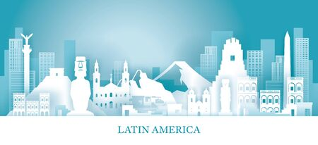 Latin America Skyline Landmarks in Paper Cutting Style, Famous Place and Historical Buildings, Travel and Tourist Attraction
