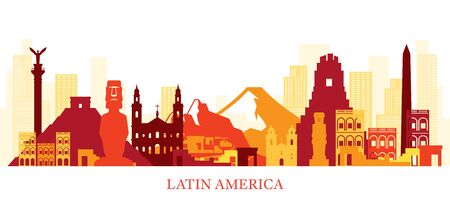 Latin America Skyline Landmarks Colouful Silhouette, Famous Place and Historical Buildings, Travel and Tourist Attraction Illustration