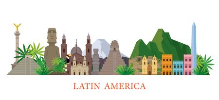 Latin America Skyline Landmarks Flat Style, Famous Place and Historical Buildings, Travel and Tourist Attraction Illustration