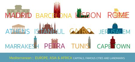 Mediterranean Europe, Africa, Asia Cities Landmarks with Text or Word, Capitals, Famous Place, Buildings, Travel and Tourist Attraction 일러스트