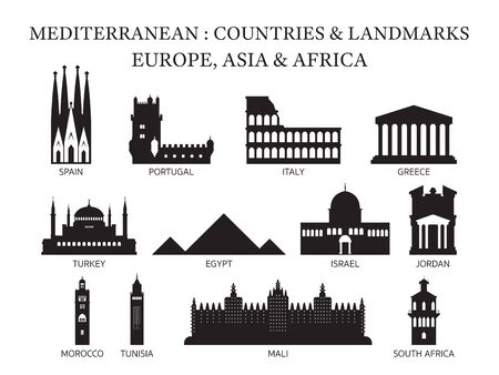 Mediterranean Europe, Africa, Asia Countries Landmarks Silhouette, Famous Place and Historical Buildings, Travel and Tourist Attraction 일러스트