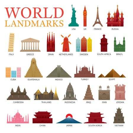 World Countries Landmarks Colorful Silhouette Set, Famous Place and Historical Buildings, Travel and Tourist Attraction