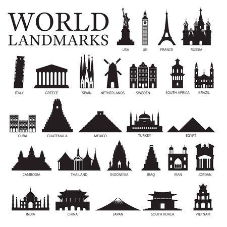 Ensemble de silhouette de points de repère de pays du monde, lieu célèbre et bâtiments historiques, voyage et attraction touristique Vecteurs