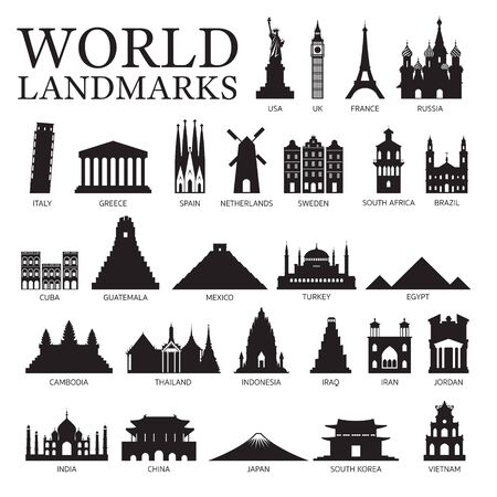 World Countries Landmarks Silhouette Set, Famous Place and Historical Buildings, Travel and Tourist Attraction Illustration