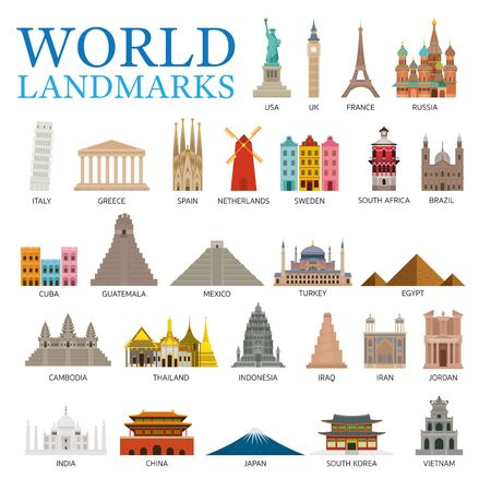 World Countries Landmarks Set, Famous Place and Historical Buildings, Travel and Tourist Attraction