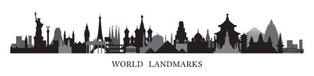 World Skyline Landmarks in Black and White Silhouette, Famous Place and Historical Buildings, Travel and Tourist Attraction