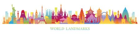 World Skyline Landmarks Silhouette in Colorful Color, Famous Place and Historical Buildings, Travel and Tourist Attraction Archivio Fotografico - 130989897