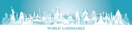 World Skyline Landmarks in Paper Cutting Style, Famous Place and Historical Buildings, Travel and Tourist Attraction Ilustracja
