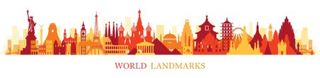 World Skyline Landmarks Silhouette in Colorful Color, Famous Place and Historical Buildings, Travel and Tourist Attraction