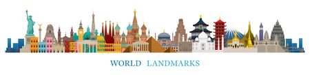 World Skyline Landmarks in Flat Design Style, Famous Place and Historical Buildings, Travel and Tourist Attraction
