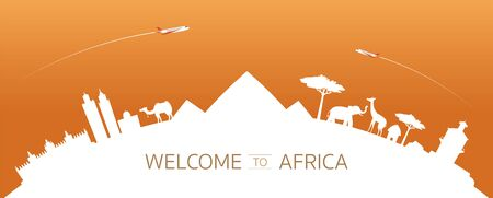 Africa Skyline Curve Landmarks Silhouette, Famous Place and Historical Buildings, Travel and Tourist Attraction