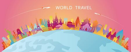 World Skyline Curve Landmarks Silhouette Colorful, Famous Place and Historical Buildings, Travel and Tourist Attraction Ilustracja