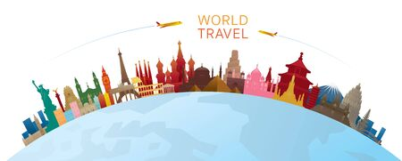 World Skyline Curve Landmarks Silhouette Colorful, Famous Place and Historical Buildings, Travel and Tourist Attraction Archivio Fotografico - 130989906