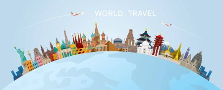 World Skyline Curve Landmarks in Flat Design, Famous Place and Historical Buildings, Travel and Tourist Attraction Ilustracja