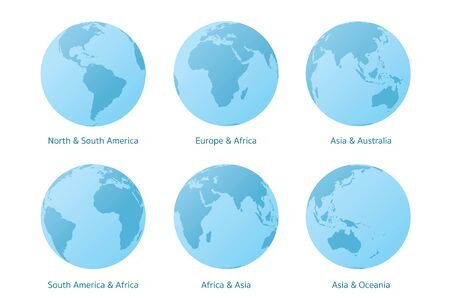 Planet Earth set of Different Continents View, World Globe Map, America, Europe, Africa, Asia, Oceania Illusztráció