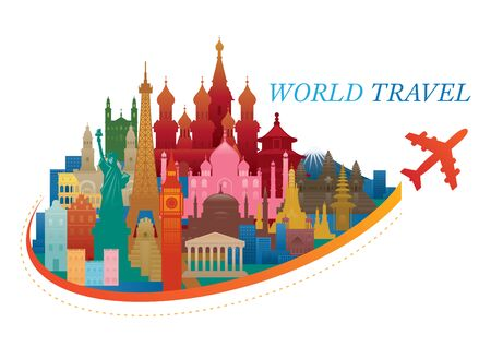 World Travel and Landmarks Concept, Tourist Attraction, Famous Place and Historical Buildings Illustration