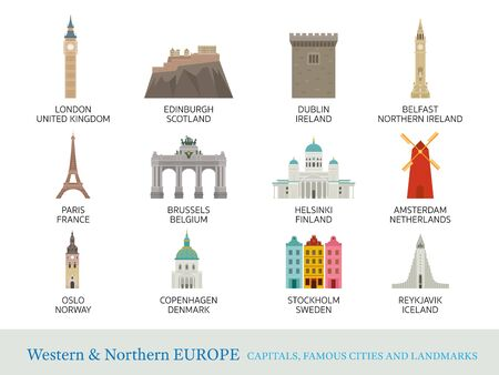 Western and Northern Europe Cities Landmarks in Flat Style, Capitals, Famous Place, Buildings, Travel and Tourist Attraction Illustration