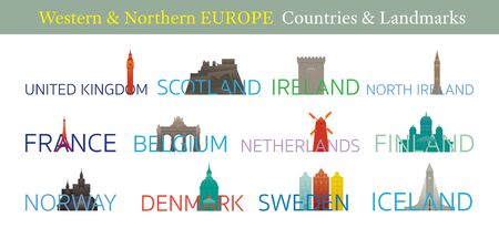 Western and Northern Europe Countries Landmarks with Text or Word, Famous Place and Historical Buildings, Travel and Tourist Attraction Stock Illustratie