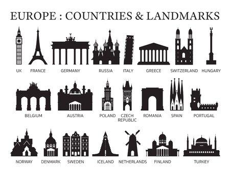 Europa Länder Wahrzeichen Silhouette, Sehenswürdigkeiten und historische Gebäude, Reisen und Touristenattraktion