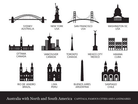 America Continent and Australia Cities Landmarks Silhouette, Capitals, Famous Place, Buildings, Travel and Tourist Attraction Illusztráció