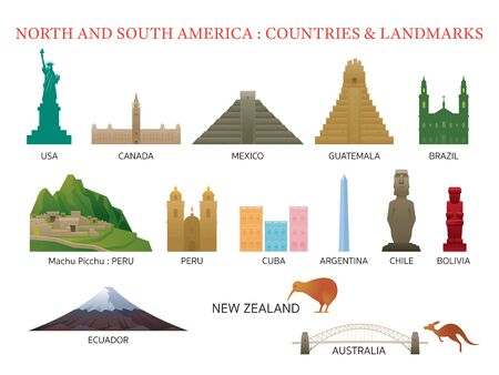 America Continent and Australia Countries Landmarks, Famous Place, Buildings, Travel and Tourist Attraction 版權商用圖片 - 130990196
